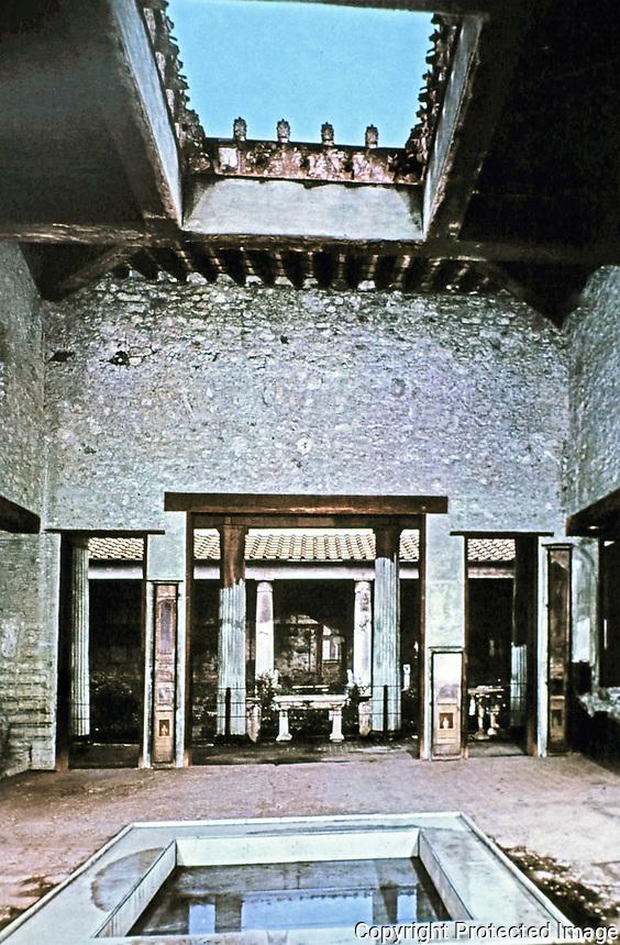 House of the Vetti atrium and impluvium, Pompei Italy, 425 BCE - 79 CE