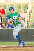 Bubba Starling (11) of the Lexington Legends follows through on his swing against the Kannapolis Intimidators at CMC-Northeast Stadium on July 29, 2013 in Kannapolis, North Carolina.  The Intimidators defeated the Legends 10-5.  (Brian Westerholt/Four Seam Images)