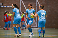 20190915– HALLE , BELGIUM : FP Halle-Gooik Girls A players Kyana De Bast, Melissa Tom and Camille Vanhoorne-Ramboer  are pictured celebrating the goal at the Belgian Women's Futsal D1 match between FP Halle-Gooik A and FP Halle-Gooik B on Sunday 15th 2019 at the De Bres Sport Complex in Halle, Belgium. PHOTO SPORTPIX.BE | Sevil Oktem