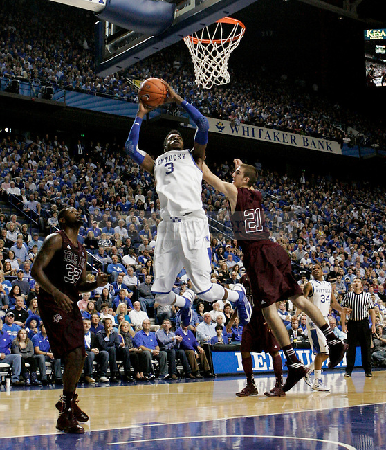 Freshman forward Nerlens Noel goes up for a dunk during the second half of the Men's Basketball game vs. Texas A&M at the Rupp Arena in Lexington, Ky., on Saturday, January 12, 2013..
