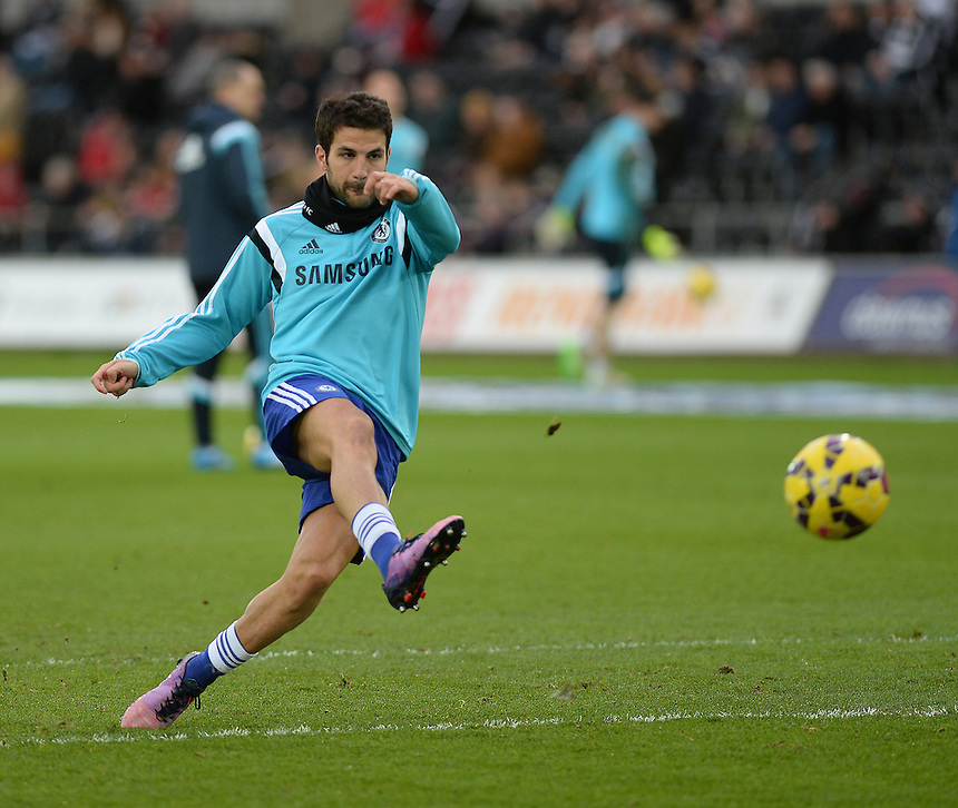 Chelsea's Cesc Fabregas during the pre-match warm-up <br /> <br /> Photographer /Ashley CrowdenCameraSport<br /> <br /> Football - Barclays Premiership - Swansea City v Chelsea - Saturday 17th January 2015 - Liberty Stadium - Swansea<br /> <br /> &copy; CameraSport - 43 Linden Ave. Countesthorpe. Leicester. England. LE8 5PG - Tel: +44 (0) 116 277 4147 - admin@camerasport.com - www.camerasport.com