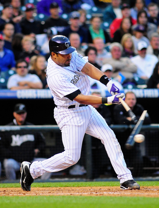 May 9, 2009: Rockies catcher Yorvit Torrealba breaks his bat during a game between the Florida Marlins and the Colorado Rockies at Coors Field in Denver, Colorado. The Marlins beat the Rockies 3-1.
