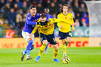 9th November 2019; King Power Stadium, Leicester, Midlands, England; English Premier League Football, Leicester City versus Arsenal; Ayoze Perez of Leicester City tangles with Rob Holding of Arsenal - Strictly Editorial Use Only. No use with unauthorized audio, video, data, fixture lists, club/league logos or 'live' services. Online in-match use limited to 120 images, no video emulation. No use in betting, games or single club/league/player publications