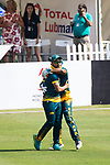 Aubrey Swanepoel of South Africa celebrates during Day 1 of Hong Kong Cricket World Sixes 2017 Group A match between South Africa vs Pakistan at Kowloon Cricket Club on 28 October 2017, in Hong Kong, China. Photo by Vivek Prakash / Power Sport Images