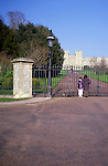 Gates entrance to Queen Elizabeth II residence at, Windsor castle, Windsor, Berkshire, England