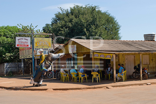 Mato Grosso State, Brazil. Bang Bang, Sao José do Xingu; Bar in a wooden shack with fibreglass rodeo cowboy.