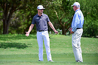 Zach Johnson (USA) talks to a rules official on the 8th green  during round 1 of the Valero Texas Open, AT&amp;T Oaks Course, TPC San Antonio, San Antonio, Texas, USA. 4/20/2017.<br /> Picture: Golffile | Ken Murray<br /> <br /> <br /> All photo usage must carry mandatory copyright credit (&copy; Golffile | Ken Murray)