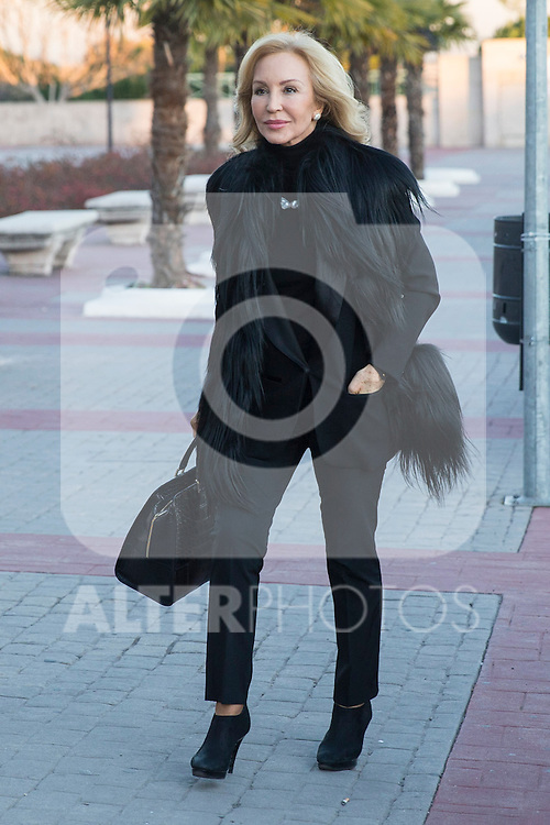 Spanish Carmen Lomana  arrived to the wake of Bimba Bose at the La Paz tannery in Madrid. Spain. January 24th 2017. (ALTERPHOTOS/Rodrigo Jimenez)
