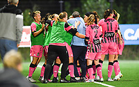 Estelle Dessilly of Sporting Charleroi pictured celebrating with her teammates and head coach Tiziano Rutilo of Sporting Charleroi after scoring a goal during a female soccer game between Sporting Charleroi and FC Femina White Star Woluwe on the second matchday of the 2020 - 2021 season of Belgian Scooore Women s SuperLeague , friday 4 th of September 2020  in Marcinelle , Belgium . PHOTO SPORTPIX.BE | SPP | DAVID CATRY