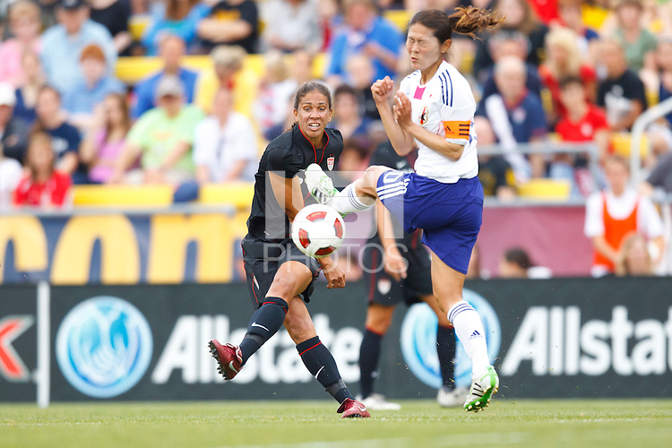 14 MAY 2011: USA Women's National Team midfielder Shannon Boxx (7) and Japan National team Homare Sawa during the International Friendly soccer match between Japan WNT vs USA WNT at Crew Stadium in Columbus, Ohio.