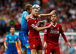 Liverpool's Jordan Henderson (C) in action with Arsenal's Nacho Monreal during the premier league match at Anfield Stadium, Liverpool. Picture date 27th August 2017. Picture credit should read: Paul Thomas/Sportimage