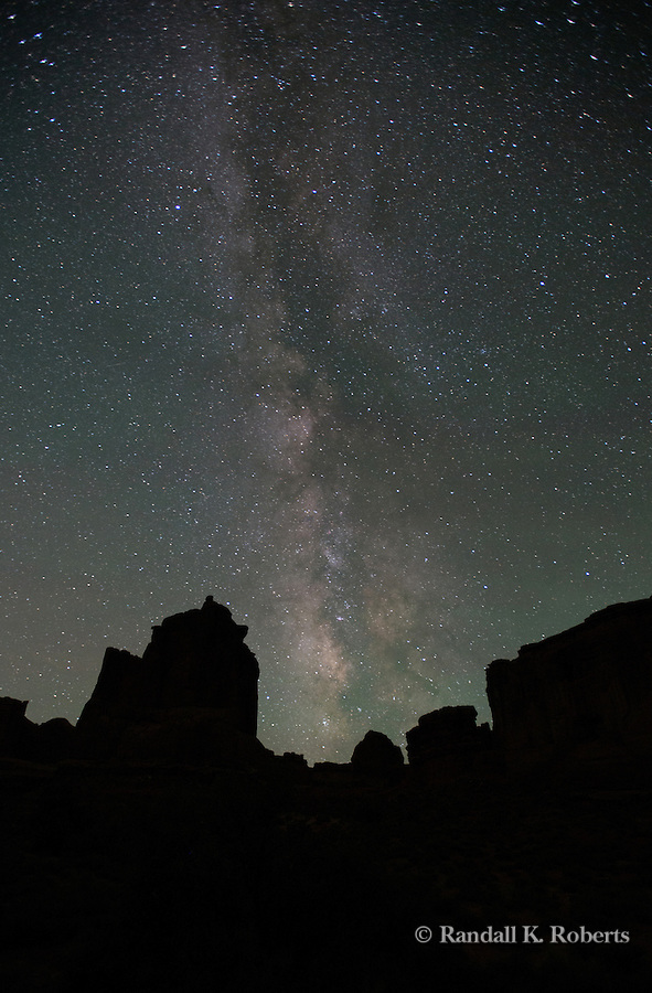 Milky Way and starlight over Arches National Park Utah