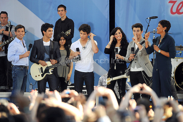 The Jonas Brothers and Demi Lovato perform on ABC's Good Morning America at Rumsey Playfield, Central Park in New York City. May 21, 2010.Credit: Dennis Van Tine/MediaPunch