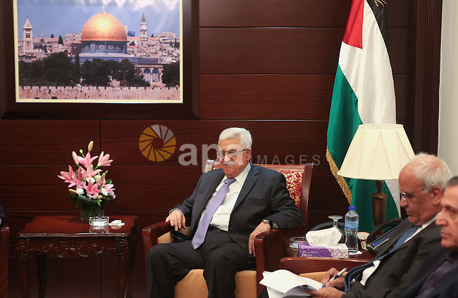 Palestinian President, Mahmoud Abbas (Abu Mazen) meets with the Russian envoy to the peace process, in the West Bank city of Ramallah, on 14 July 2015. Koenders is on a visit to the West Bank. Photo by Shadi Hatem