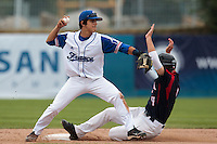 25 july 2010: Maxime Lefevre of France throws the ball to first base for a double play during France 6-1 victory over Czech Republic, in day 3 of the 2010 European Championship Seniors, in Neuenburg, Germany.
