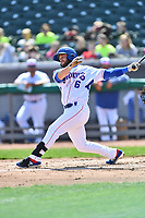Tennessee Smokies second baseman Trent Giambrone (6) swings at a pitch during a game against the Jackson Generals at Smokies Stadium on April 11, 2018 in Kodak, Tennessee. The Generals defeated the Smokies 6-4. (Tony Farlow/Four Seam Images)