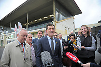 Wellington mayor Justin Lester announces the planned restroation of the historic stand. NZ Cricket Museum Stand renovation announcement at the Basin Reserve in Wellington, New Zealand on Thursday, 10 May 2018. Photo: Dave Lintott / lintottphoto.co.nz