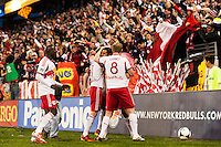 New York Red Bulls players celebrate a goal. The New York Red Bulls defeated the Chicago Fire 5-2 during a Major League Soccer (MLS) match at Red Bull Arena in Harrison, NJ, on October 27, 2013.