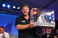 SKÛTSJESILEN: SNEEK: Snitser Mar, 31-07-2015, SKS kampioenschap 2015, Joure kampioen, Dirk Jan Reijenga, ©foto Martin de Jong