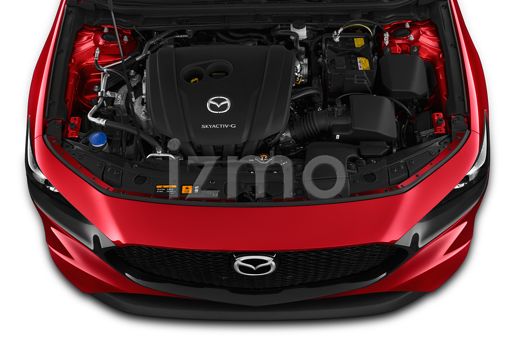 Car Stock 2019 Mazda Mazda3 Skydrive 5 Door Hatchback Engine  high angle detail view