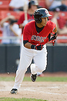 Leury Garcia #3 of the Hickory Crawdads hustles down the first base line against the Rome Braves at  L.P. Frans Stadium May 23, 2010, in Hickory, North Carolina.  The Rome Braves defeated the Hickory Crawdads 5-1.  Photo by Brian Westerholt / Four Seam Images