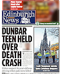 Edinburgh Evening News, front page, and page 5, Scott Monument Suicide<br />