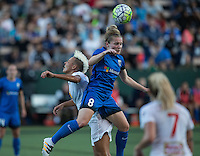 Seattle, WA - Saturday July 16, 2016: Lianne Sanderson, Kim Little during a regular season National Women's Soccer League (NWSL) match between the Seattle Reign FC and the Western New York Flash at Memorial Stadium.