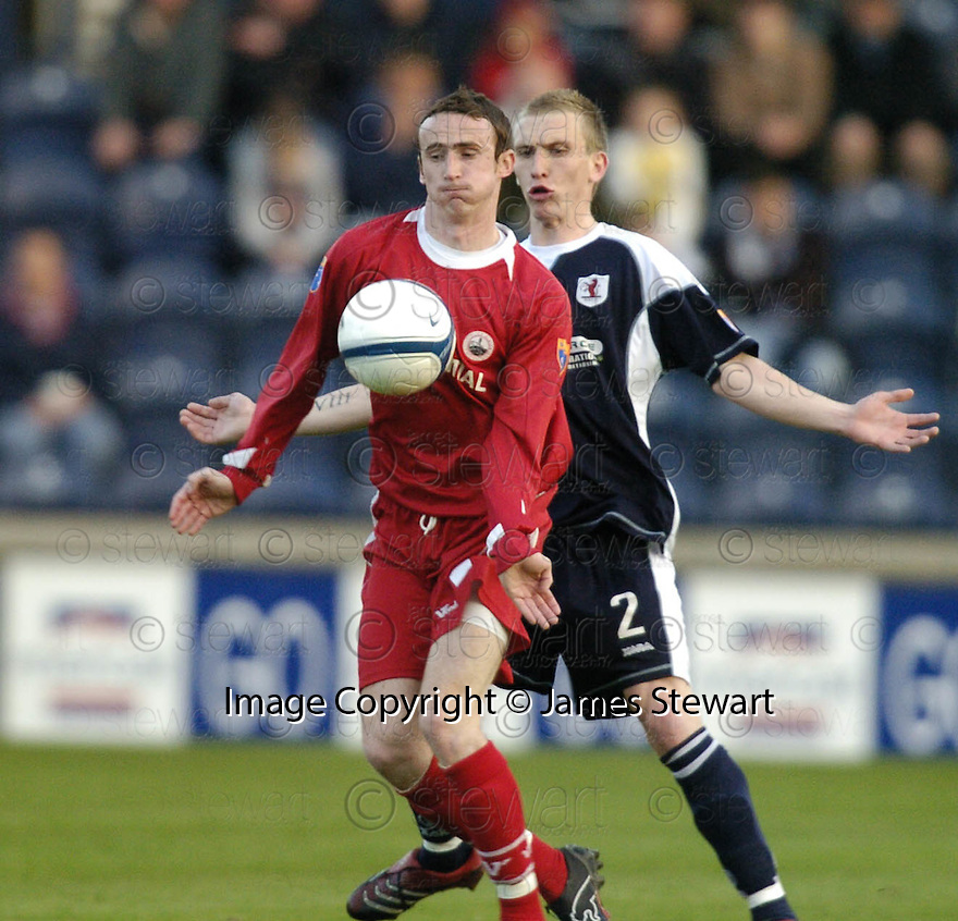02/05/2007       Copyright Pic: James Stewart.File Name : sct_jspa03_raith_rovers_v_stirling_albion.DAVID O'BRIEN HOLDS OFF CRAIG WILSON.James Stewart Photo Agency 19 Carronlea Drive, Falkirk. FK2 8DN      Vat Reg No. 607 6932 25.Office     : +44 (0)1324 570906     .Mobile   : +44 (0)7721 416997.Fax         : +44 (0)1324 570906.E-mail  :  jim@jspa.co.uk.If you require further information then contact Jim Stewart on any of the numbers above.........