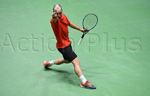 5th February 2017, Fraport Arena, Frankfurt, Germany; Davis Cup World Group 1st Round; Germany versus Belgium; Steve Darcis of Belgium against Alexander Zverev of Germany; Belgium won the match 4-1 to progress to the next round