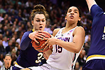 COLUMBUS, OH - MARCH 30: Kathryn Westbeld #33 of the Notre Dame Fighting Irish grabs the ball from Gabby Williams #15 of the Connecticut Huskies during a semifinal game of the 2018 NCAA Division I Women's Basketball Final Four at Nationwide Arena in Columbus, Ohio. (Photo by Ben Solomon/NCAA Photos via Getty Images)