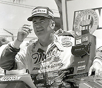 Bobby Allison victory lane trophy Pepsi Firecracker 400 Daytona International Speedway Daytona Beach FL July 1987 (Photo by Brian Cleary/www.bcpix.com)