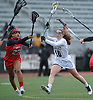 Liana McDonnell #10 of Garden City, right, moves in for a shot as Sofia Afkham #23 of Syosset defends during a Nassau County varsity girls lacrosse game at Garden City High School on Saturday, April 1, 2017. McDonnell scored five goals in Garden City's 13-9 win. (Note to editor: game was shot in place of assigned Farmingdale-North Shore matchup, which I learned was canceled upon arriving at Farmingdale HS)