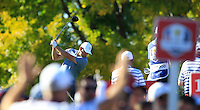 Lee Westwood (ENG)(Team Europe) on the 18th tee during Sunday Singles matches at the Ryder Cup, Hazeltine National Golf Club, Chaska, Minnesota, USA.  02/10/2016<br /> Picture: Golffile | Fran Caffrey<br /> <br /> <br /> All photo usage must carry mandatory copyright credit (&copy; Golffile | Fran Caffrey)