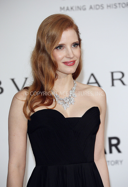 ACEPIXS.COM<br /> <br /> May 21 2014, Cannes<br /> <br /> Jessica Chastain arriving at amfAR's 21st Cinema Against AIDS Gala during the 67th Cannes International Film Festival at Hotel du Cap-Eden-Roc on May 21 2014 in Cap d'Antibes, France<br /> <br /> By Line: Famous/ACE Pictures<br /> <br /> ACE Pictures, Inc.<br /> www.acepixs.com<br /> Email: info@acepixs.com<br /> Tel: 646 769 0430