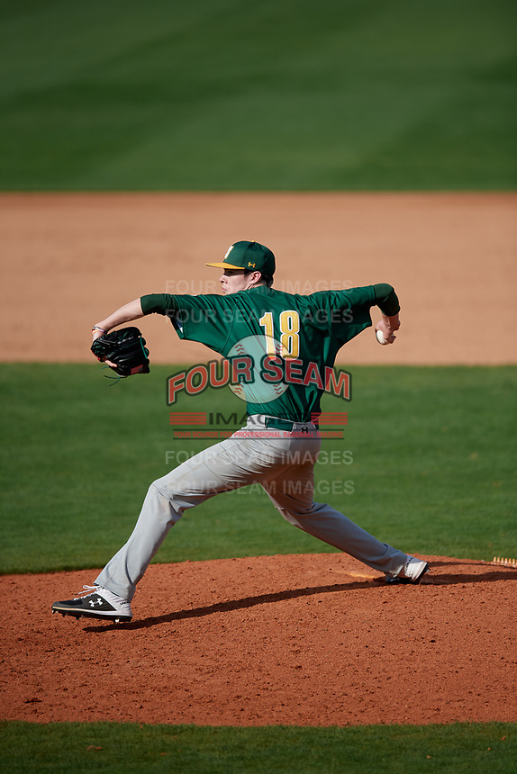 Siena Saints relief pitcher Mike McCully (18) during a game against the UCF Knights on February 17, 2019 at John Euliano Park in Orlando, Florida.  UCF defeated Siena 7-1.  (Mike Janes/Four Seam Images)