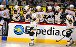 22 November 2008: The Boston Bruins' bench celebrates a goal in the third period against the Montreal Canadiens at the Bell Centre in Montreal, Quebec, Canada.  After a 2-2 regulation tie and a non-scoring 5-minute overtime period, the Boston Bruins scored the lone shootout goal thus defeating the Canadiens 3-2. The Canadiens, celebrating their 100th season, honored former Montreal goaltender Patrick Roy, and retired his jersey (Number 33) during pre-game ceremonies. ***** Editorial Use Only *****..Mandatory Photo Credit: Ed Wolfstein Photo *** Editorial Sales through Icon Sports Media *** www.iconsportsmedia.com
