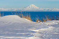 Mount Redoubt Volcano of the Aleutian mountain range across the Cook Inlet from the Kenai Peninsula