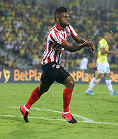 BUCARAMANGA-COLOMBIA, 07-03-2020: Miguel Angel Borja, jugador de Atletico Junior, celebra el gol anotado al Atletico Bucaramanga, durante partido entre Atletico Bucaramanga y Atletico Junior, de la fecha 8 por la Liga BetPlay DIMAYOR I 2020, jugado en el estadio Alfonso Lopez de la ciudad de Bucaramanga. / Miguel Angel Borja, player of Atletico Junior, celebrates a scored goal to Atletico J Bucaramanga, during a match between Atletico Bucaramanga and Atletico Junior, of the 8th date for the BetPlay DIMAYOR I Legauje 2020 at the Alfonso Lopez stadium in Bucaramanga city. / Photo: VizzorImage / Jaime Moreno / Cont.
