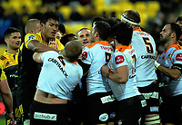 The teams get frisky after Jeff Toomaga-Allen's try during the Super Rugby match between the Hurricanes and Cheetahs at Westpac Stadium in Wellington, New Zealand on Saturday, 20 May 2017. Photo: Dave Lintott / lintottphoto.co.nz