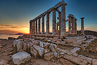 The temple of Poseidon (448–440 B.C.) in Sounio, Greece