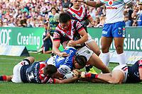 Try to Solomone Kata. Sydney Roosters v Vodafone Warriors, NRL Rugby League. Allianz Stadium, Sydney, Australia. 31st March 2018. Copyright Photo: David Neilson / www.photosport.nz