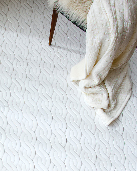 Cable Knit Large, a water jet  stone mosaic, shown in Venetian honed Dolomite.