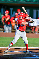 Troy Montgomery (4) of the Orem Owlz at bat against the Ogden Raptors in Pioneer League action at Lindquist Field on June 27, 2016 in Ogden, Utah. Orem defeated Ogden 4-3. (Stephen Smith/Four Seam Images)