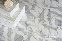 Rumi, a stone waterjet mosaic shown in Avenza honed and Snow White polished, is part of the Talya Collection by Sara Baldwin for Marble Systems.