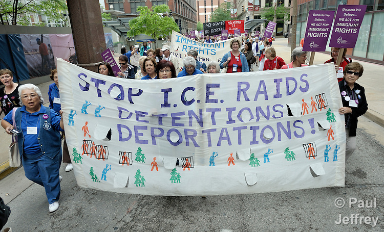 Participants in a march and rally in support of immigrants rights during the 2010 Assembly of United Methodist Women in St. Louis, Missouri. Photo by Paul Jeffrey/Response.