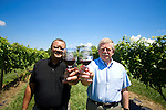 Willis Parker (left), president of the American Wine Society, and John Hames, executive director of the American Wine Society, enjoy a glass of wine and each other's company in the Brandeberry Winery in Enon, Ohio. The owner of Brandeberry is also a member of the American Wine Society, the largest consumer wine organization in the United States.