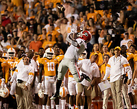 KNOXVILLE, TN - OCTOBER 5: D'Andre Swift #7 of the Georgia Bulldogs goes up for a catch during a game between University of Georgia Bulldogs and University of Tennessee Volunteers at Neyland Stadium on October 5, 2019 in Knoxville, Tennessee.