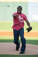 "Actor Antonio ""Tony"" Todd throws out a ceremonial first pitch prior to the International League game between the Columbus Clippers and the Charlotte Knights at BB&T BallPark on May 3, 2016 in Charlotte, North Carolina.  The Clippers defeated the Knights 8-3.  (Brian Westerholt/Four Seam Images)"