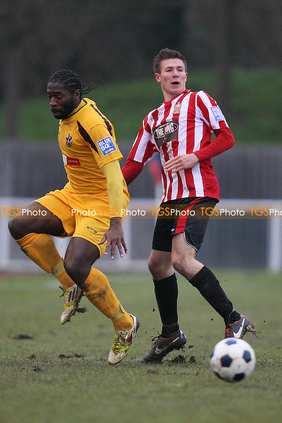 James Love in action for Hornchurch - AFC Hornchurch vs Sutton United - Blue Square Conference South Football at The Stadium, Upminster Bridge, Essex - 09/02/13 - MANDATORY CREDIT: Gavin Ellis/TGSPHOTO - Self billing applies where appropriate - 0845 094 6026 - contact@tgsphoto.co.uk - NO UNPAID USE.