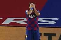 23rd June 2020, Camp Nou, Barcelona, Spain; La Liga Football league, FC Barcelona versus Athletico Bilbao;  Luis Suarez hides his face as his misses a good scoring chance